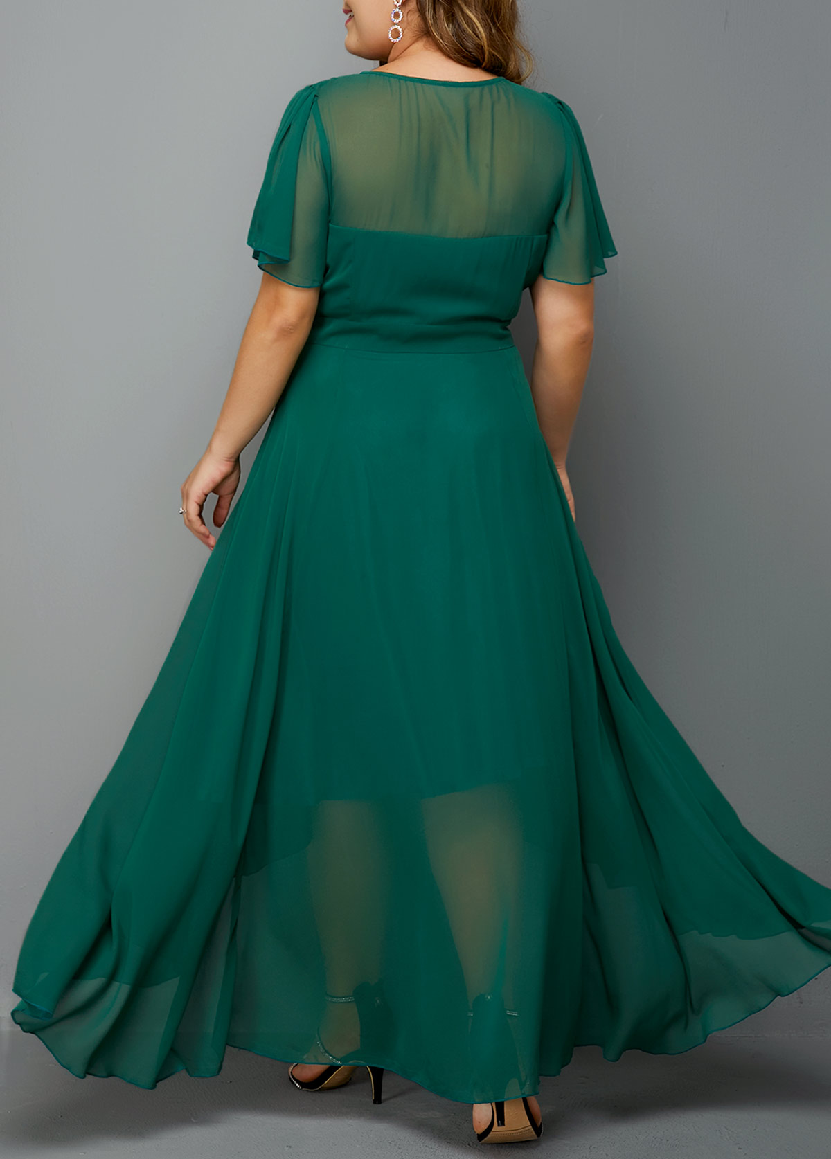 High Waist Side Zipper Plus Size Chiffon Dress