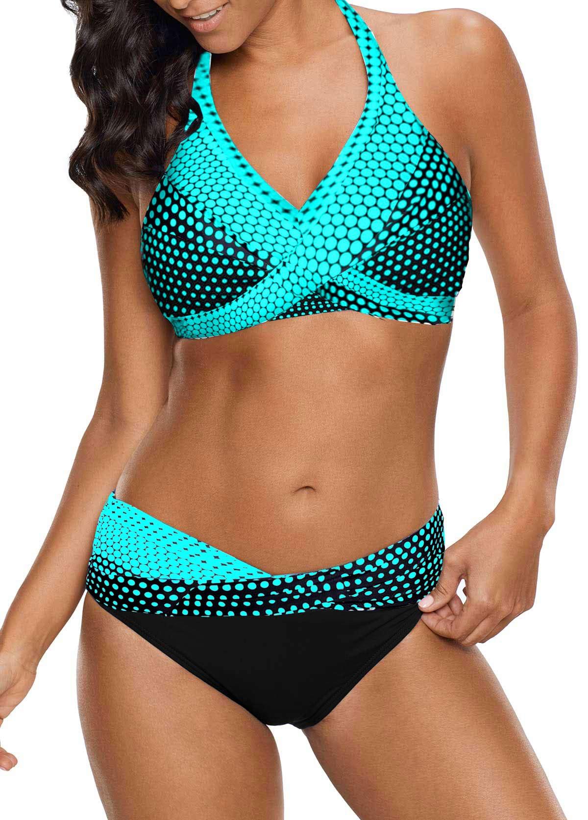 Tie Back Polka Dot Print Bikini Set