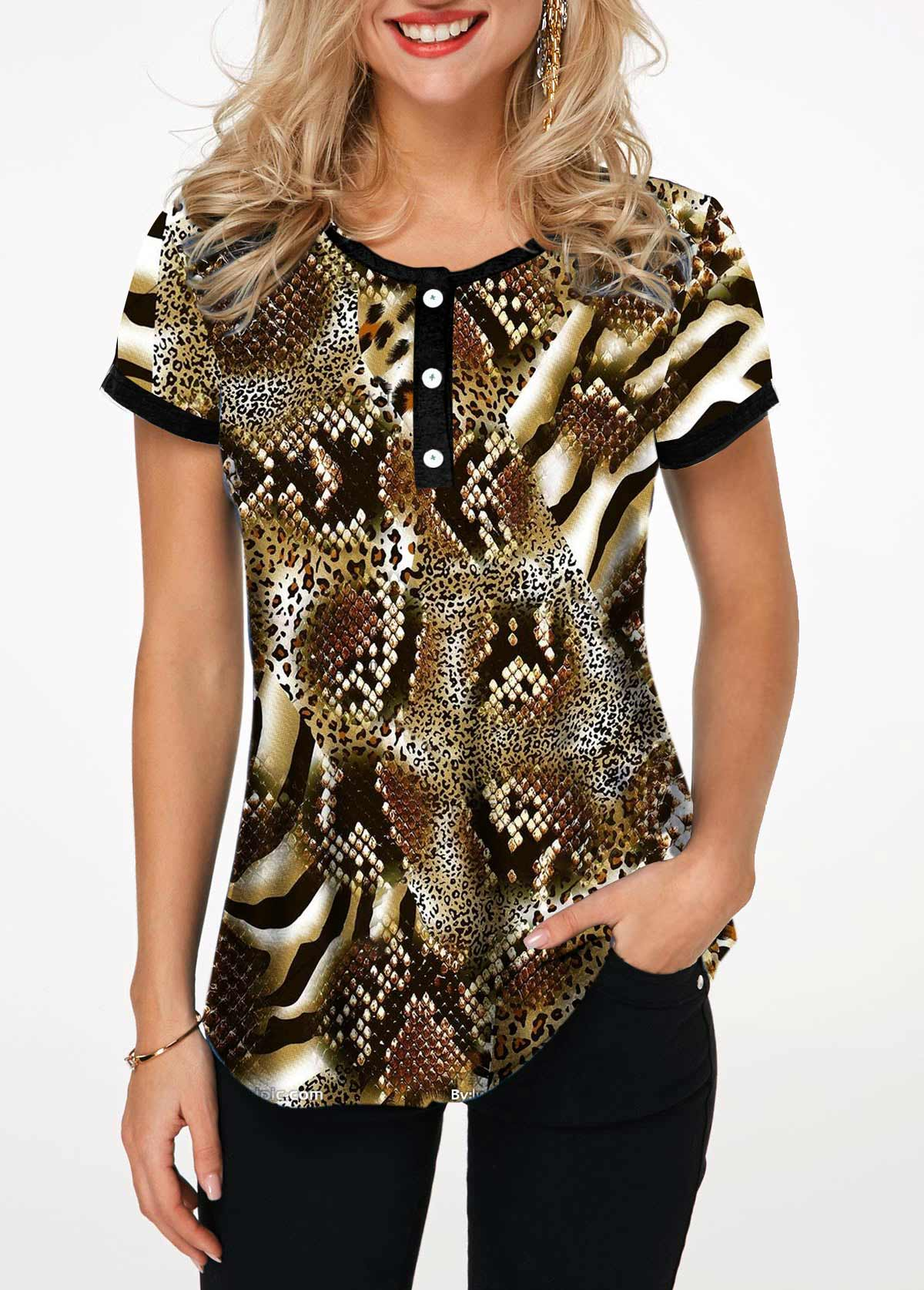 Button Front Leopard and Snake Print T Shirt