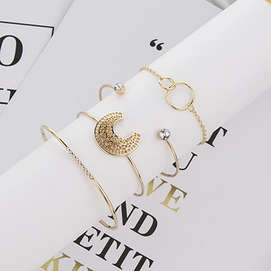 Crescent Shape Gold Metal Bangle Set for Women