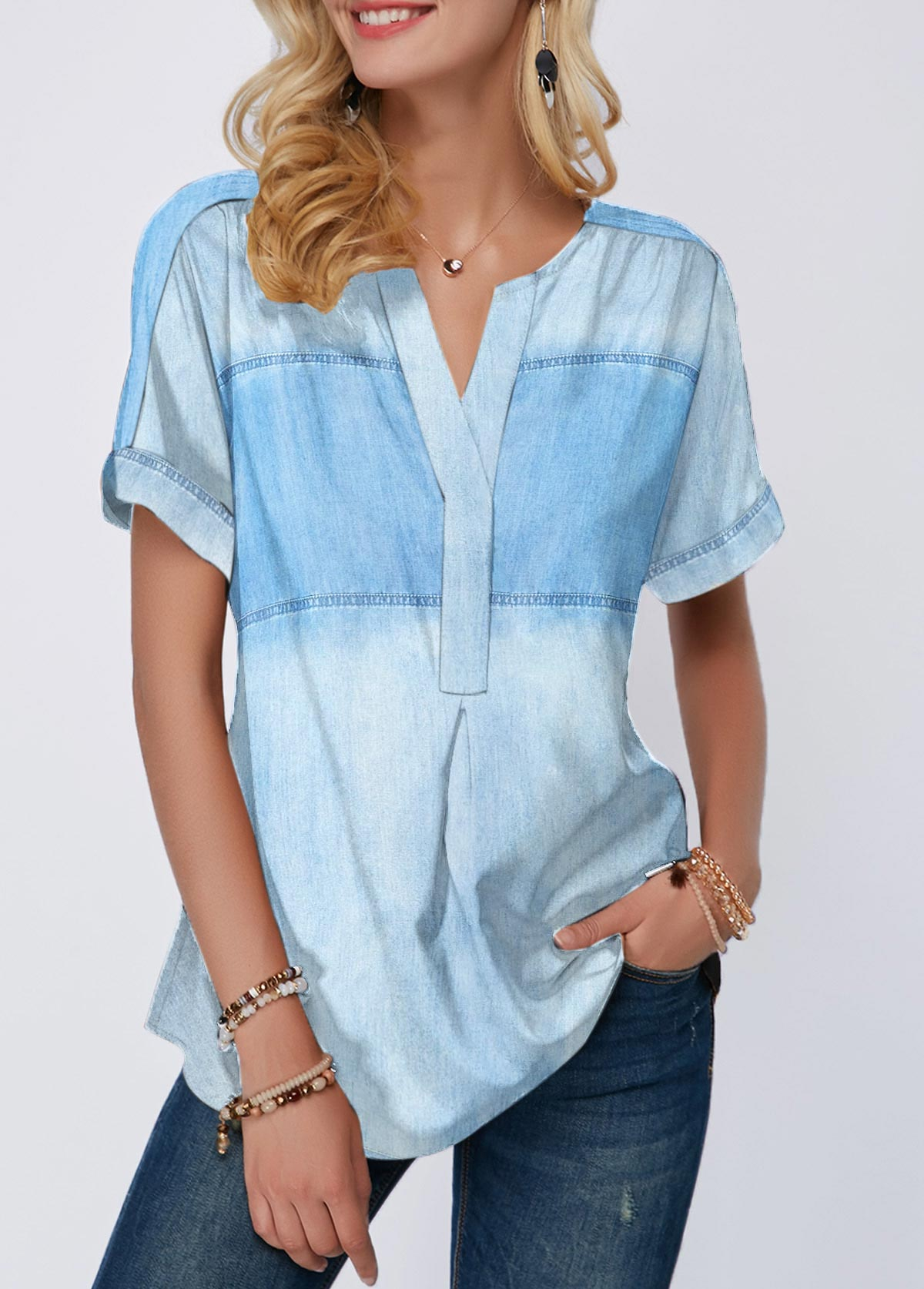 Short Sleeve Denim Blue Split Neck Blouse