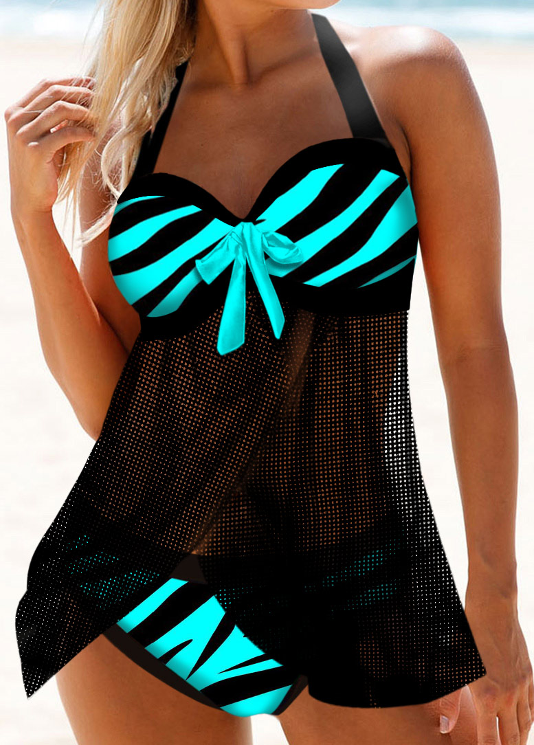 Halter Zebra Print Bowknot Detail Swimdress and Panty