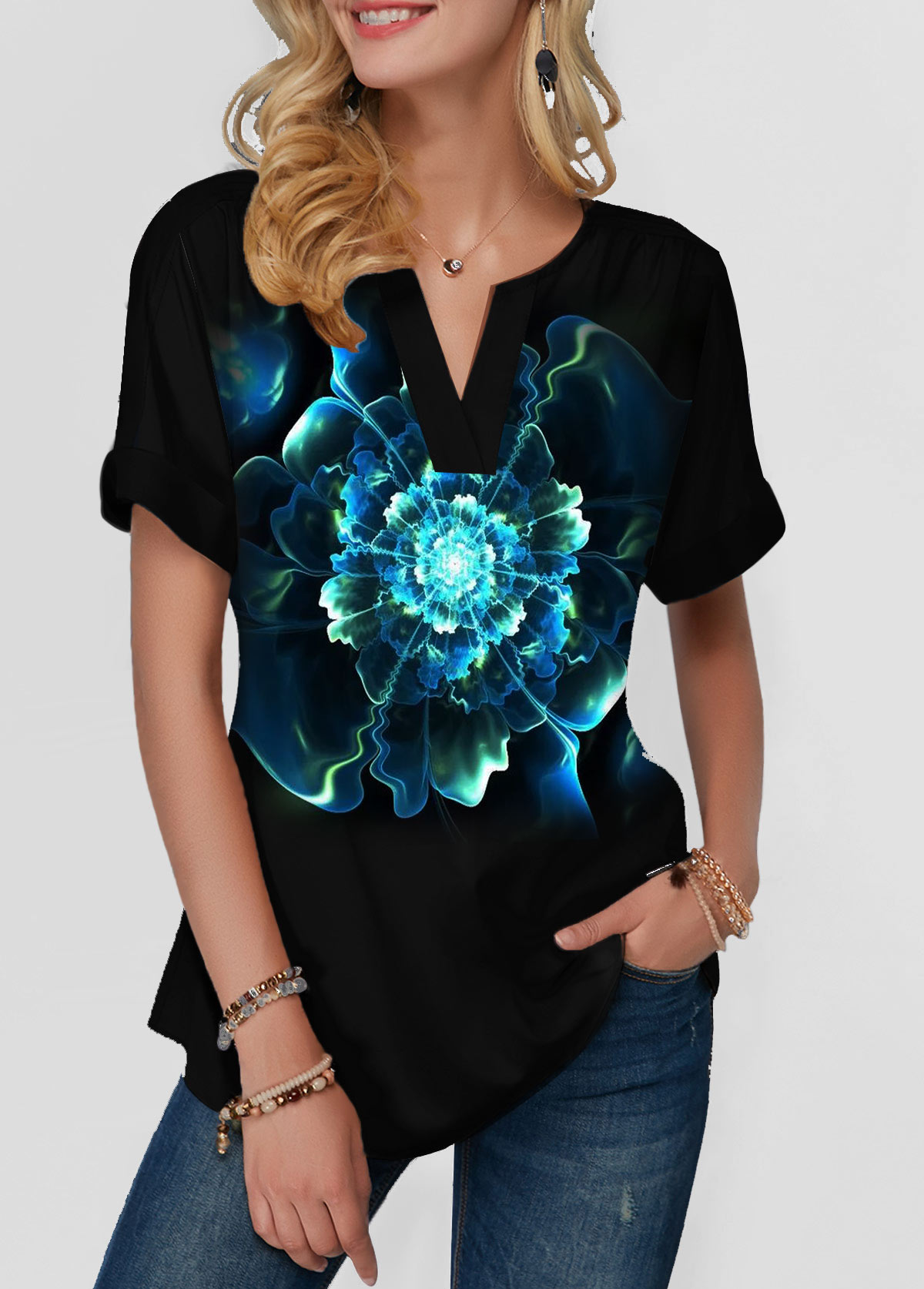 Short Sleeve Dazzle Color Notch Neck T Shirt