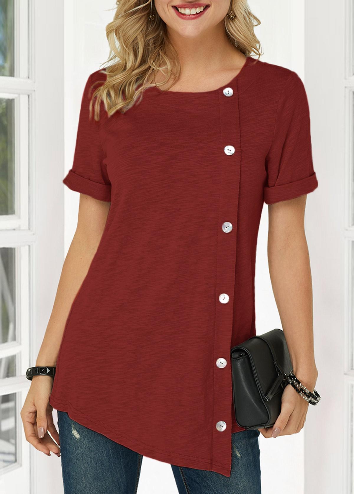 Wine Red Asymmetric Hem Button Detail T Shirt