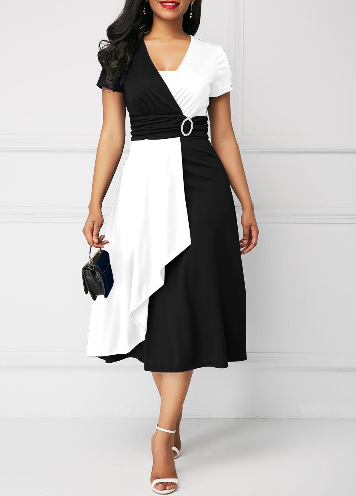 Short Sleeve High Waist Color Block Dress