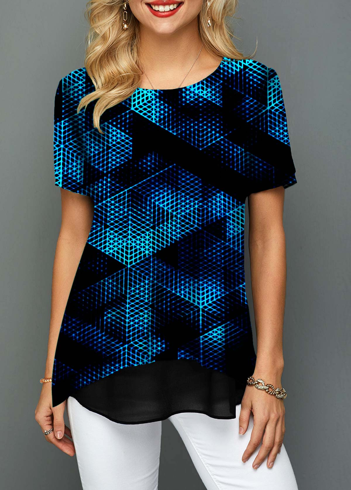 Short Sleeve Round Neck Psychedelic Print T Shirt
