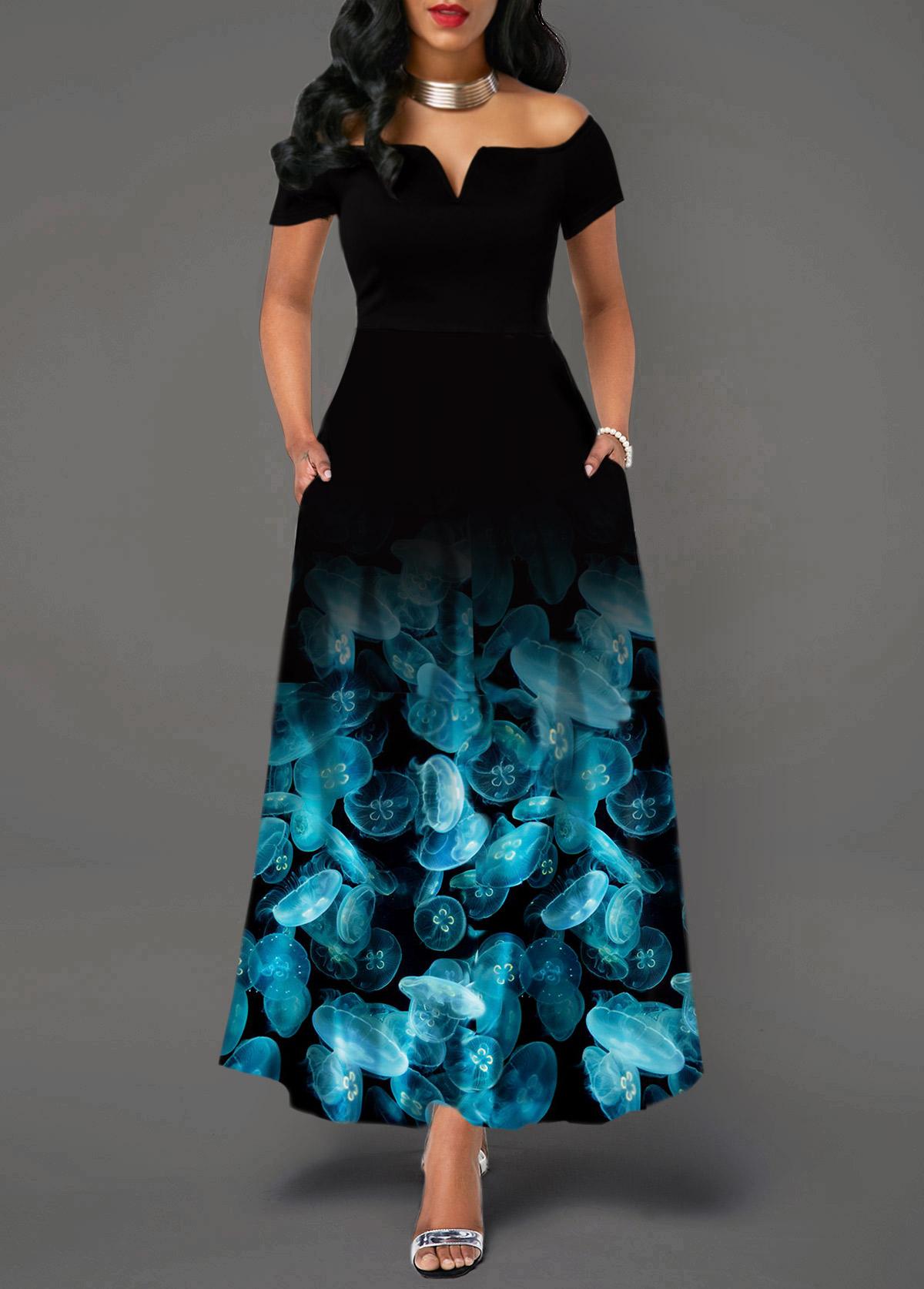 Printed Off the Shoulder High Waist Dress