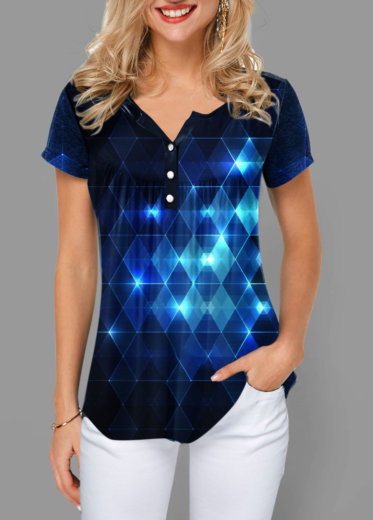 Geometric Print Button Front Short Sleeve T Shirt
