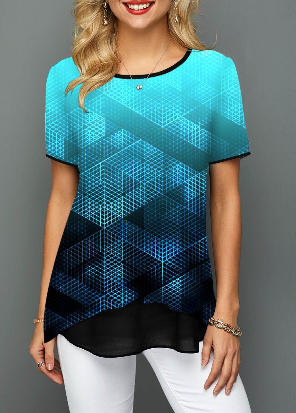 Printed Short Sleeve Round Neck T Shirt
