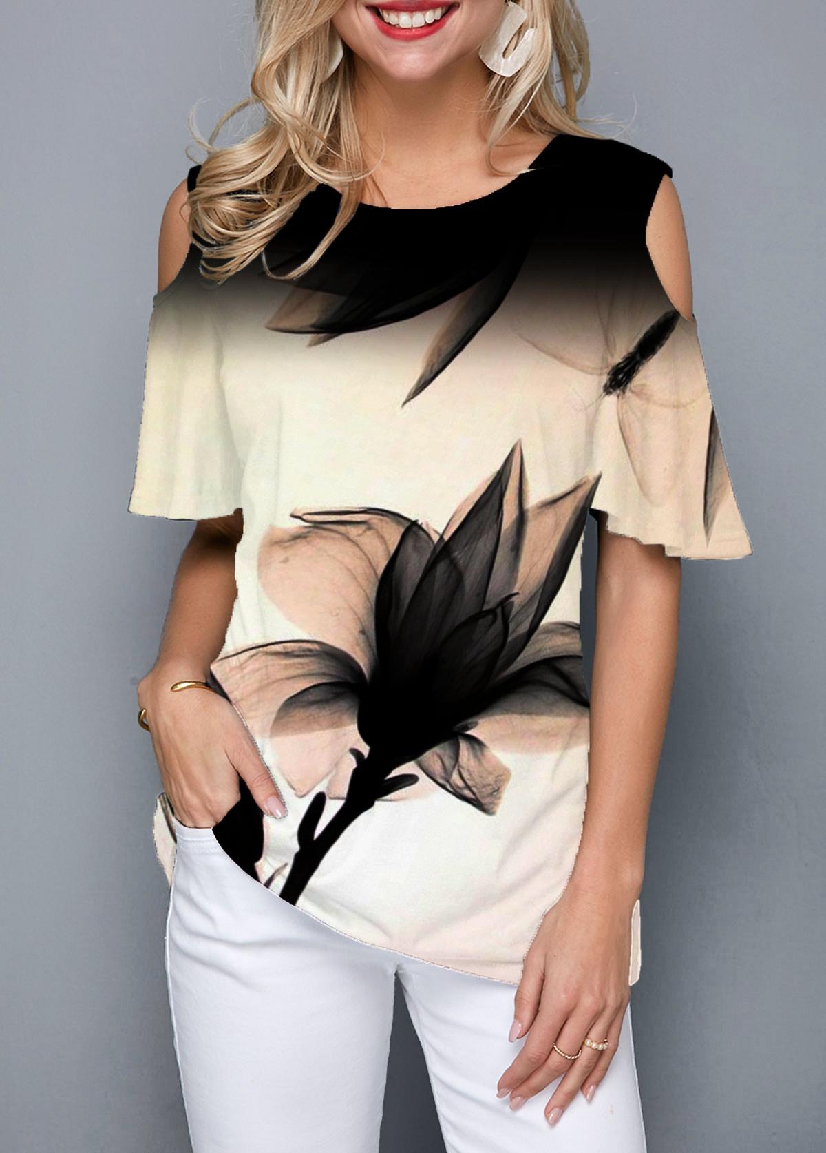 Round Neck Cold Shoulder Art Floral Print T Shirt