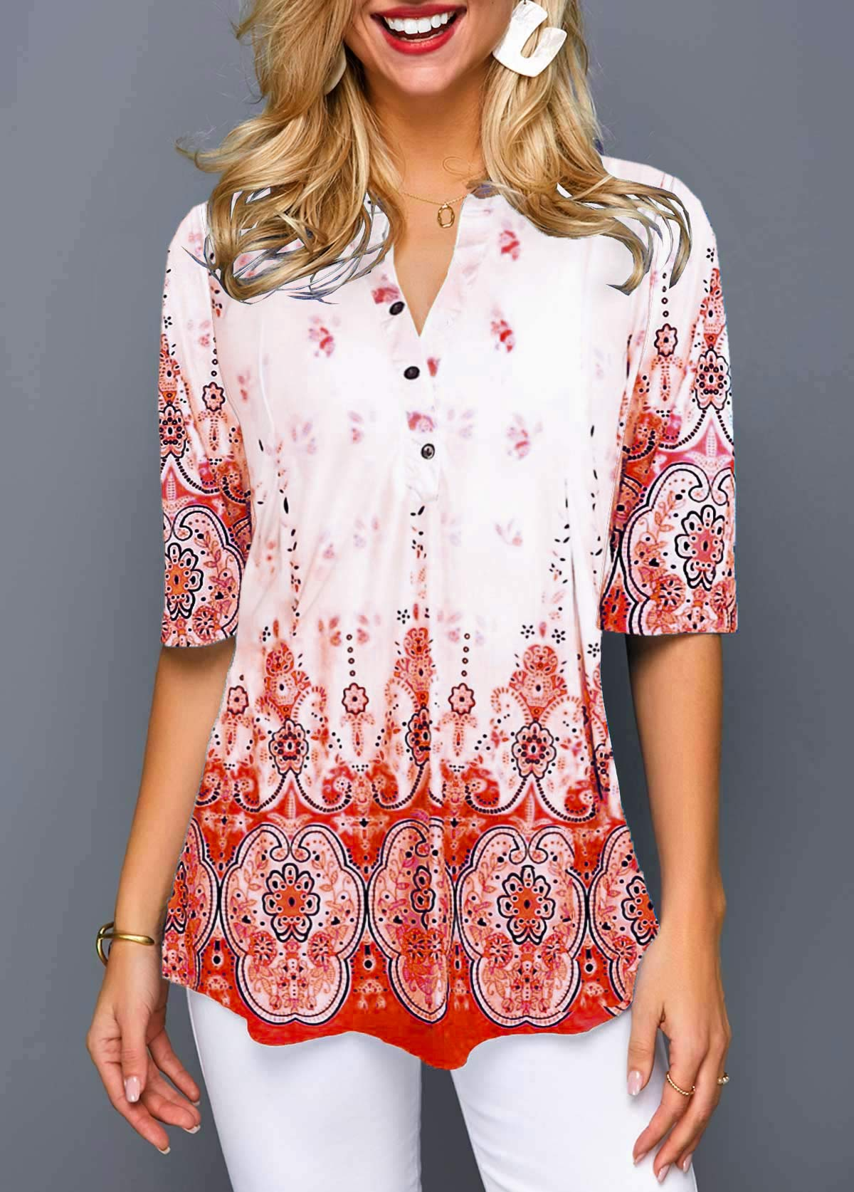 Button Detail Tribal Print Split Neck Blouse