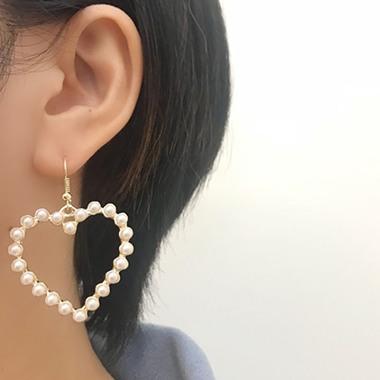 Heart Shape Gold Metal Bead Embellished Earring Set