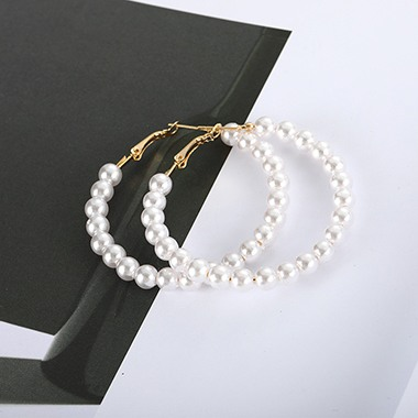 Pearl Embellished Gold Metal Earrings for Lady