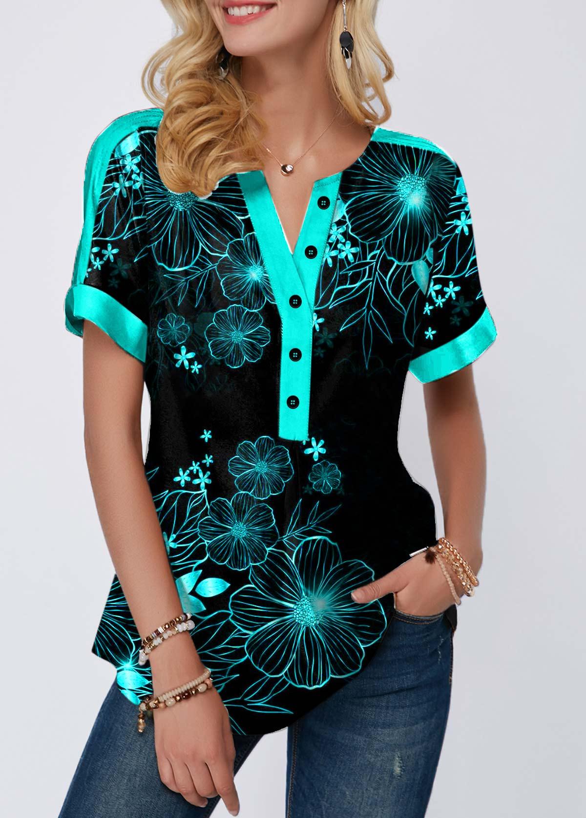 Cyan Leaf Print Split Neck Button Detail T Shirt