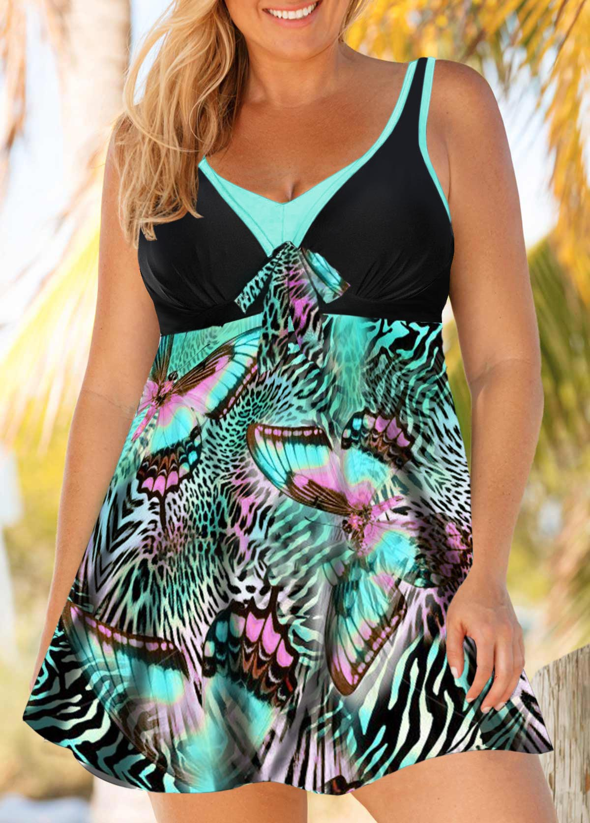 Plus Size Printed Tie Front Keyhole Back Swimdress and Shorts