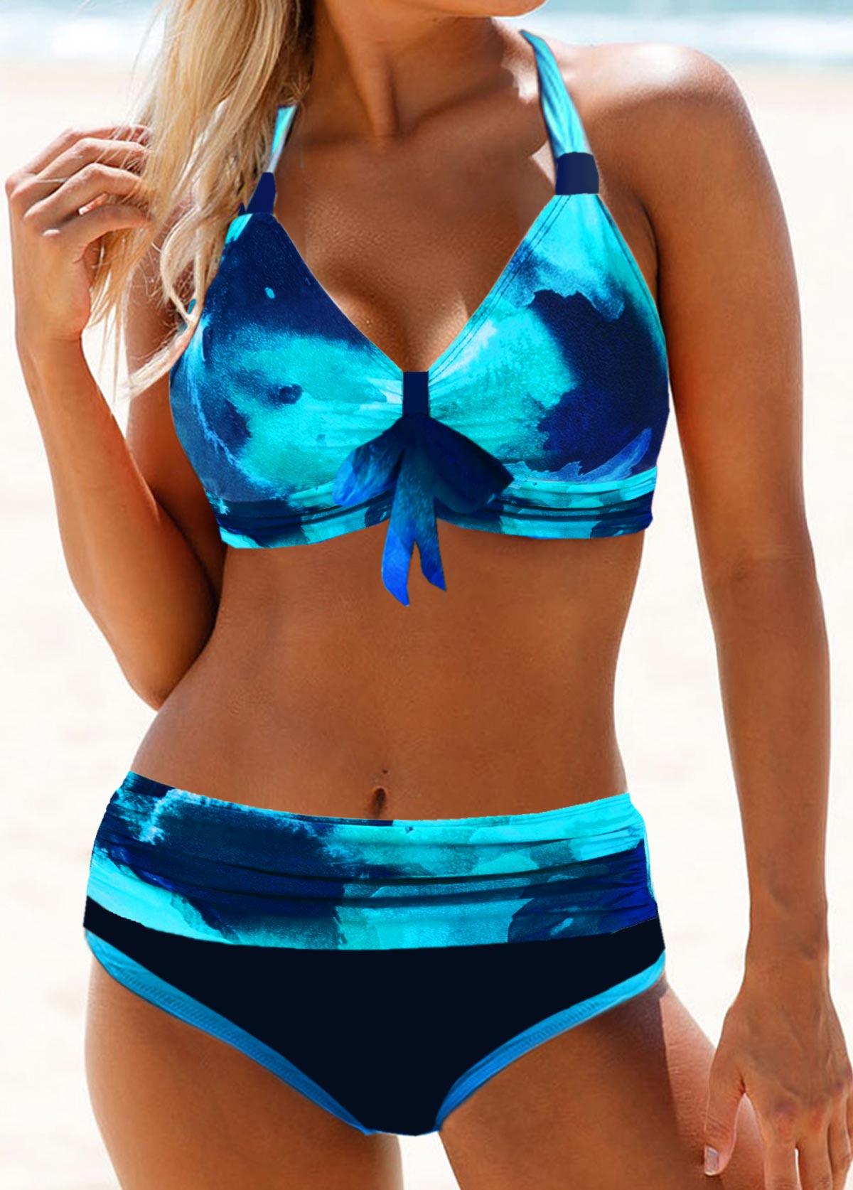 Bowknot Detail Tie Dye Halter Neck Bikini Set
