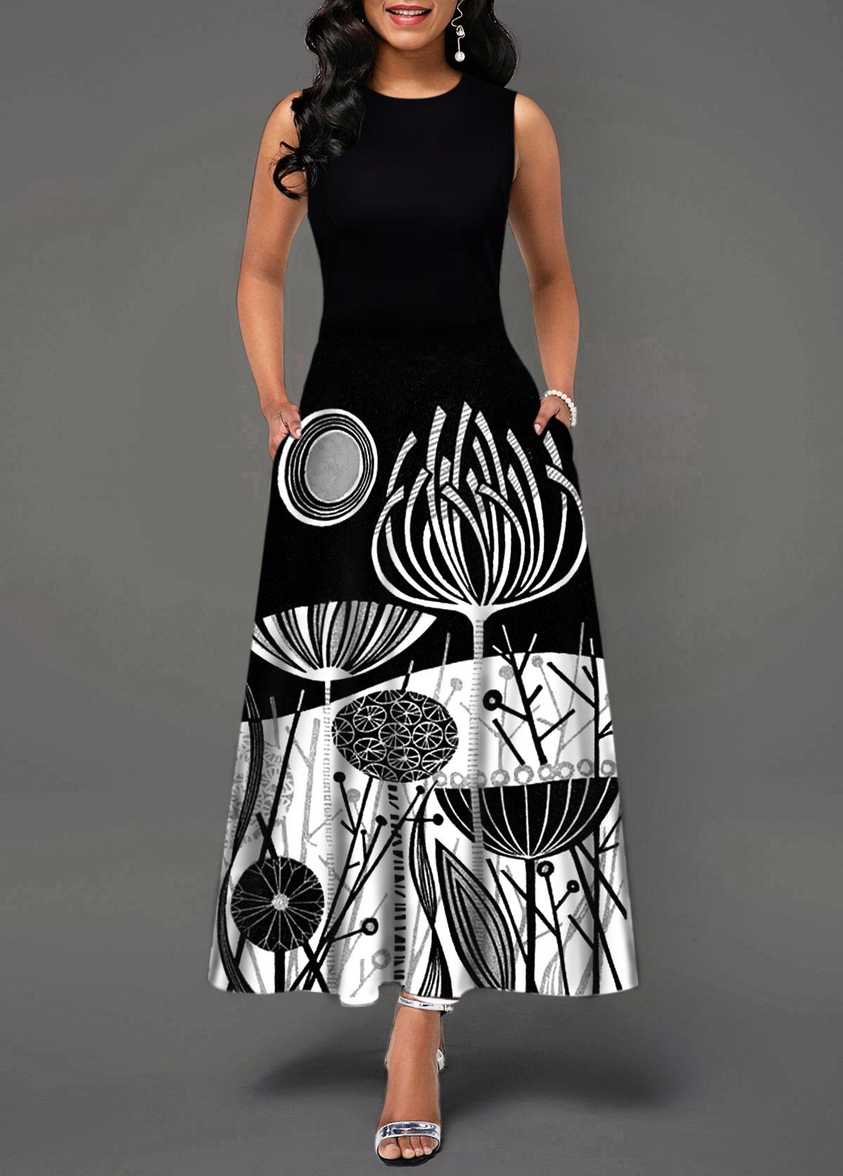 Sleeveless Round Neck Printed Black Dress