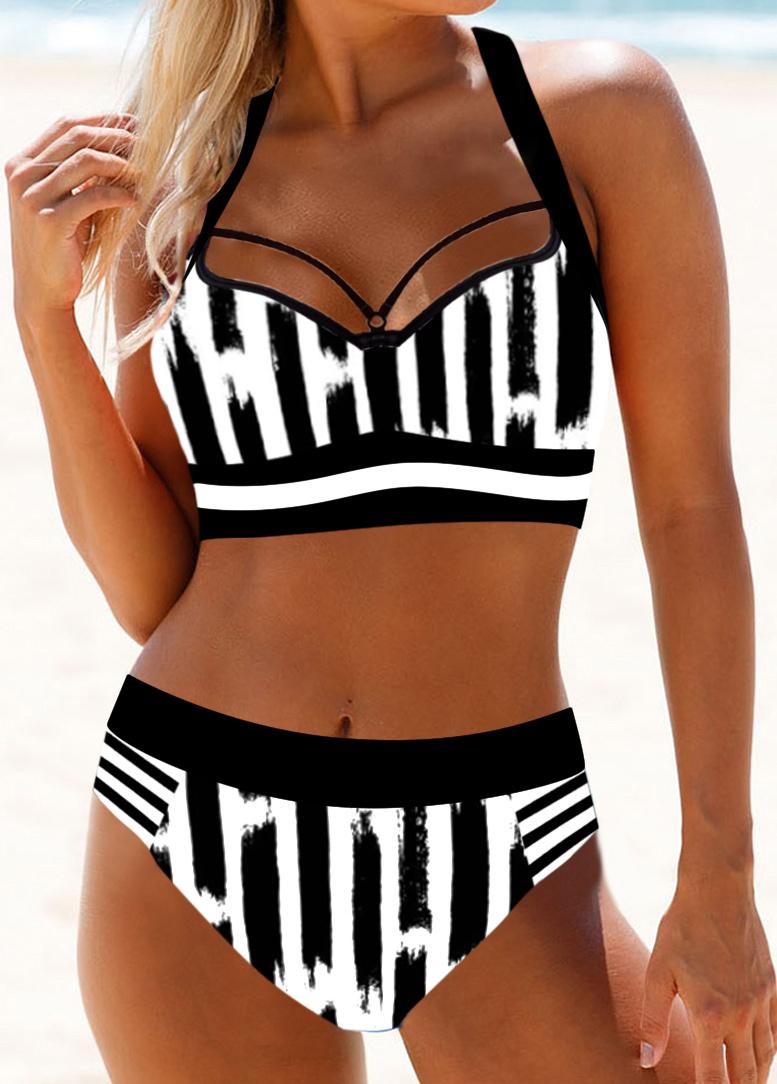 Cutout Back Monochrome Stripe Halter Neck Bikini Set