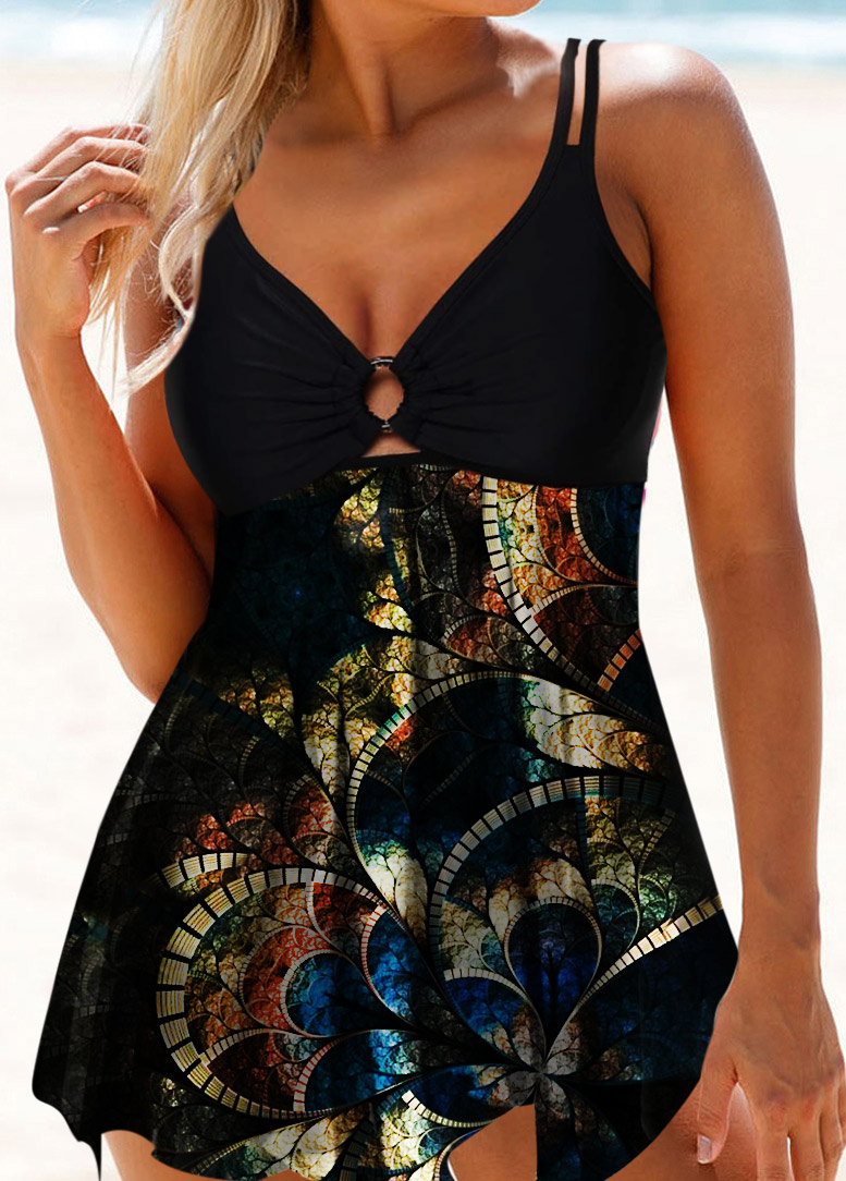 Psychedelic Print Ring Detail Double Strap Swimdress and Panty