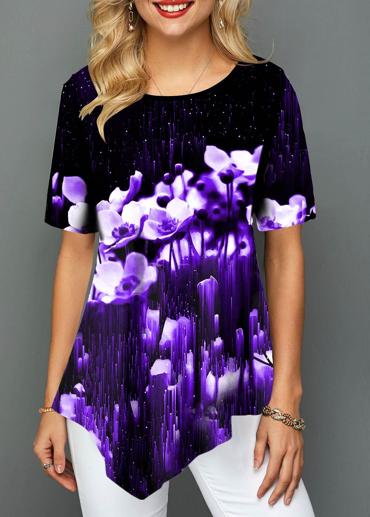 Black Floral Print Asymmetric Hem T Shirt