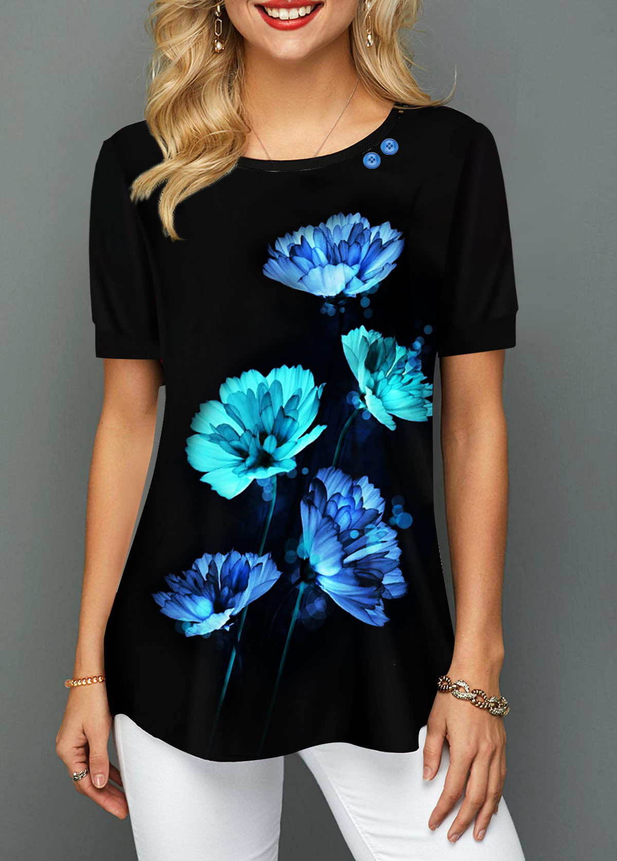 Black Buttton Detail Floral Print T Shirt