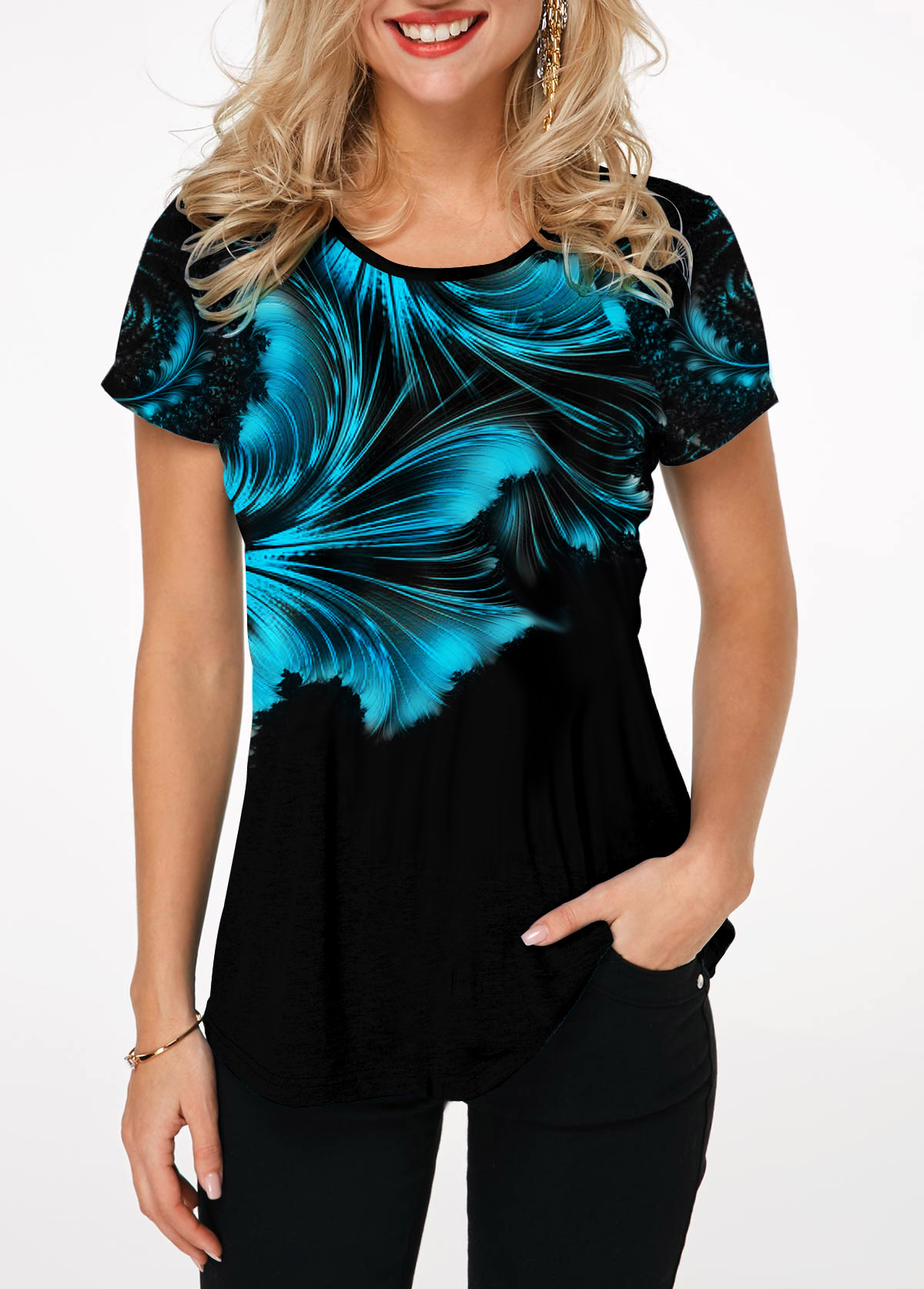 Short Sleeve Printed Round Neck T Shirt