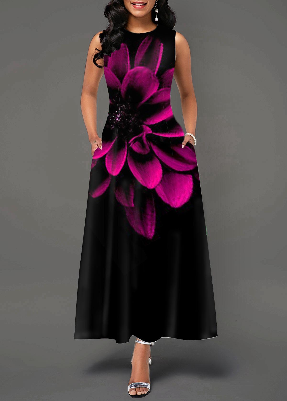 Sleeveless Round Neck Peony Print Maxi Dress