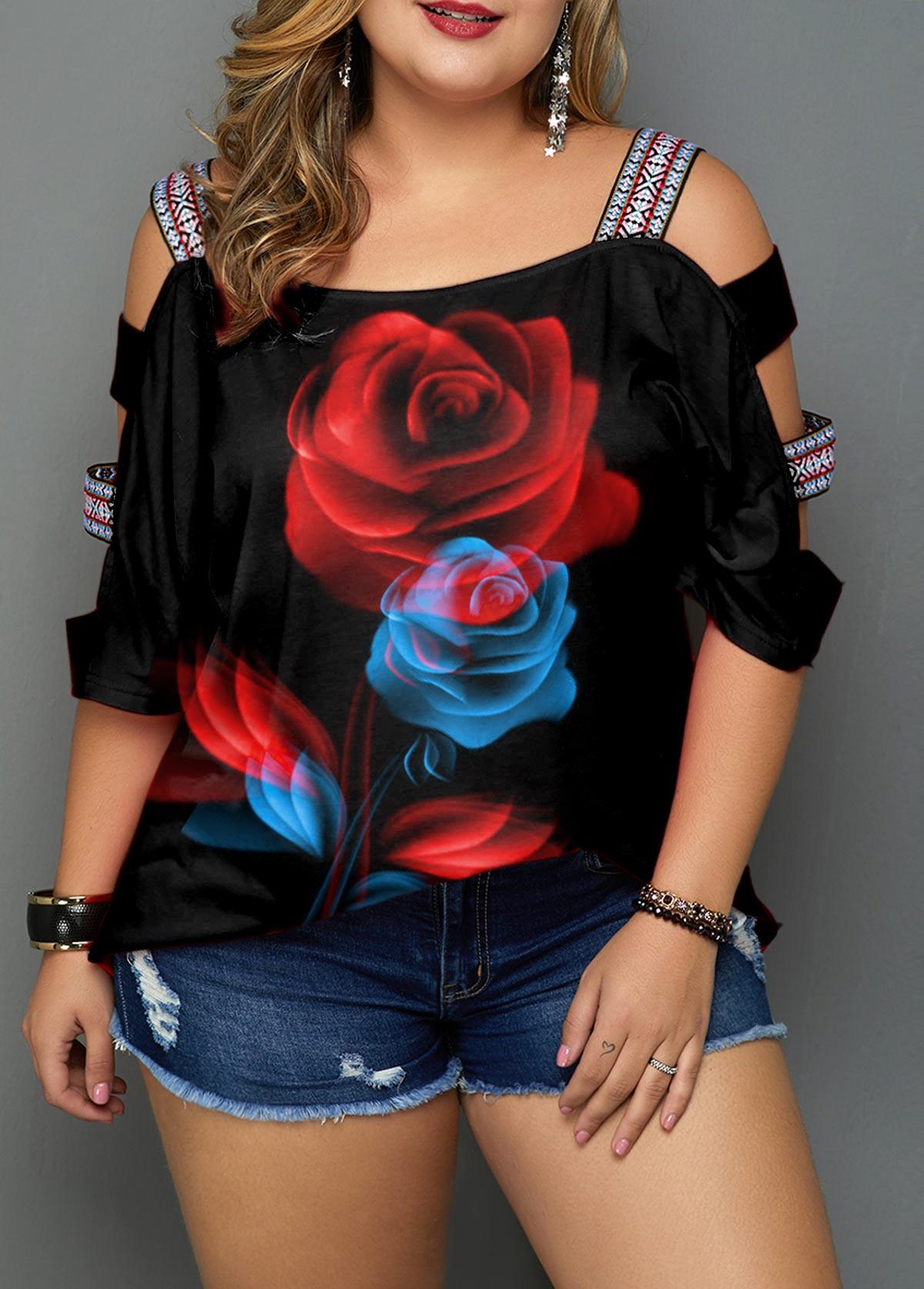 Plus Size Black Ladder Sleeve Floral Print Blouse