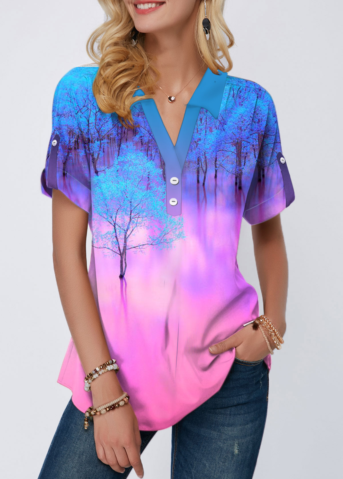 Printed Roll Tab Sleeve Button Detail Blouse