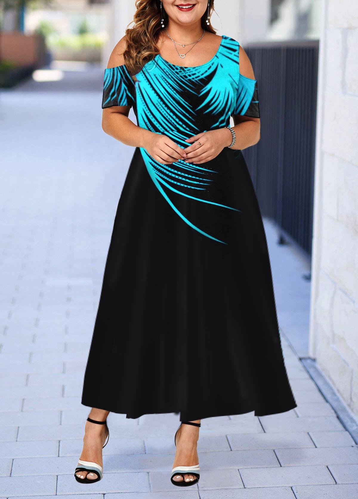 Black Plus Size Printed Cold Shoulder Dress
