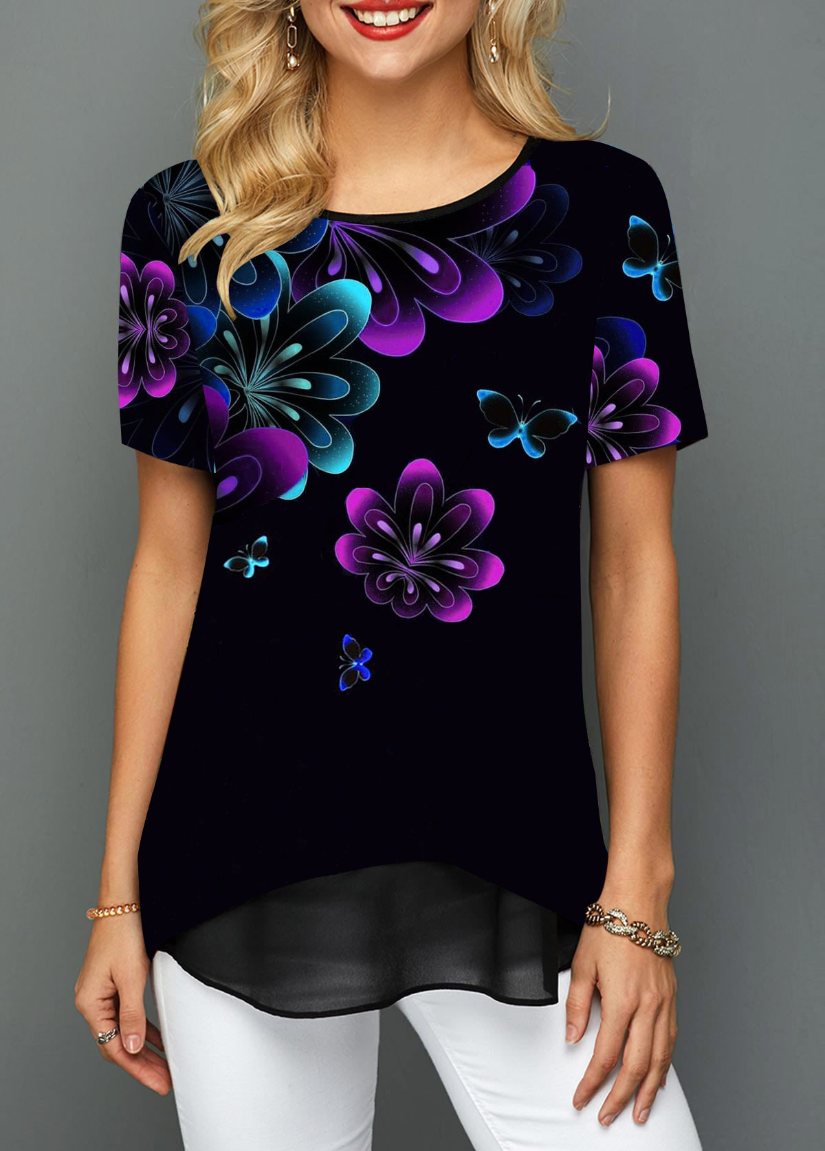 Printed Round Neck Short Sleeve T Shirt