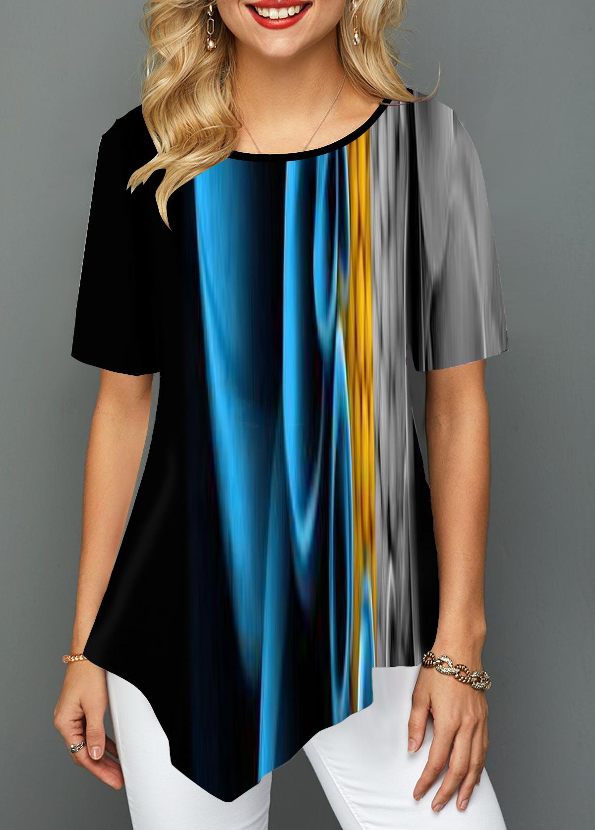 Abstract Print Round Neck Asymmetric Hem T Shirt