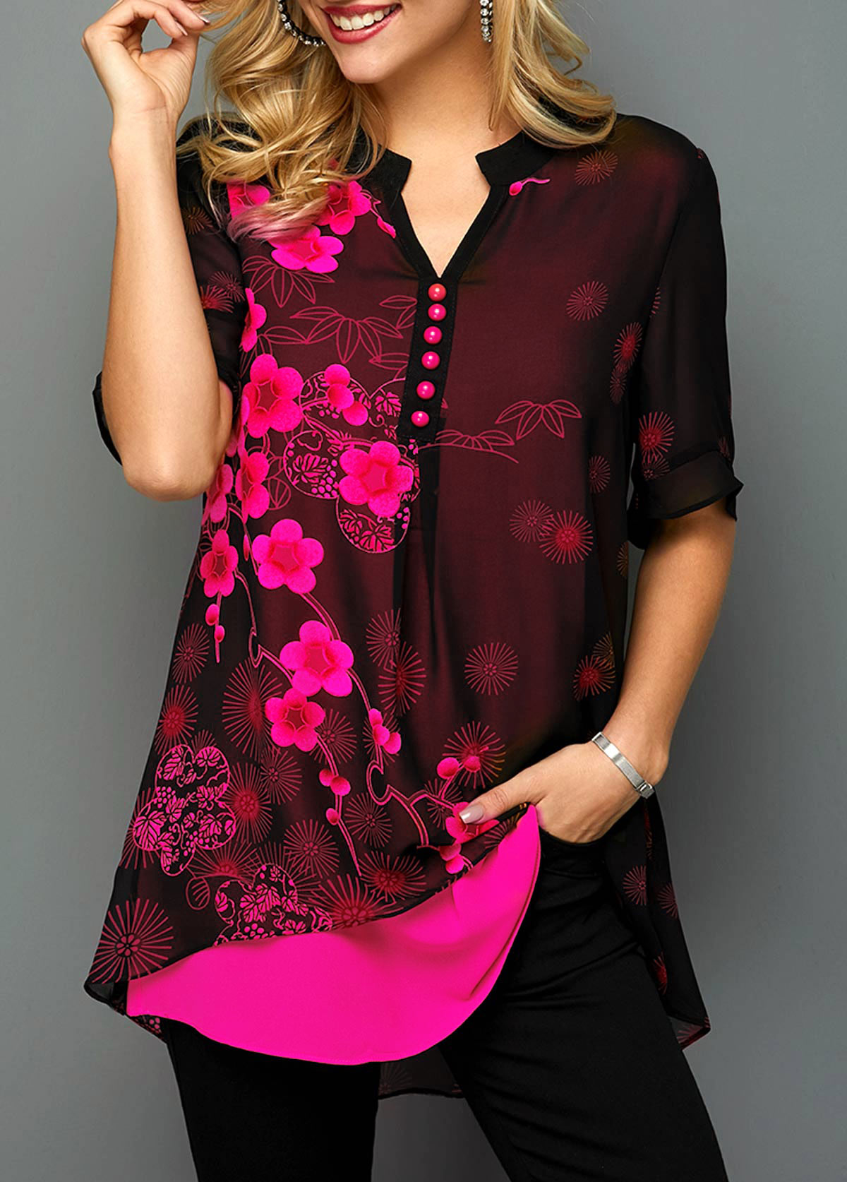 Split Neck Button Detail Blossom Print Blouse