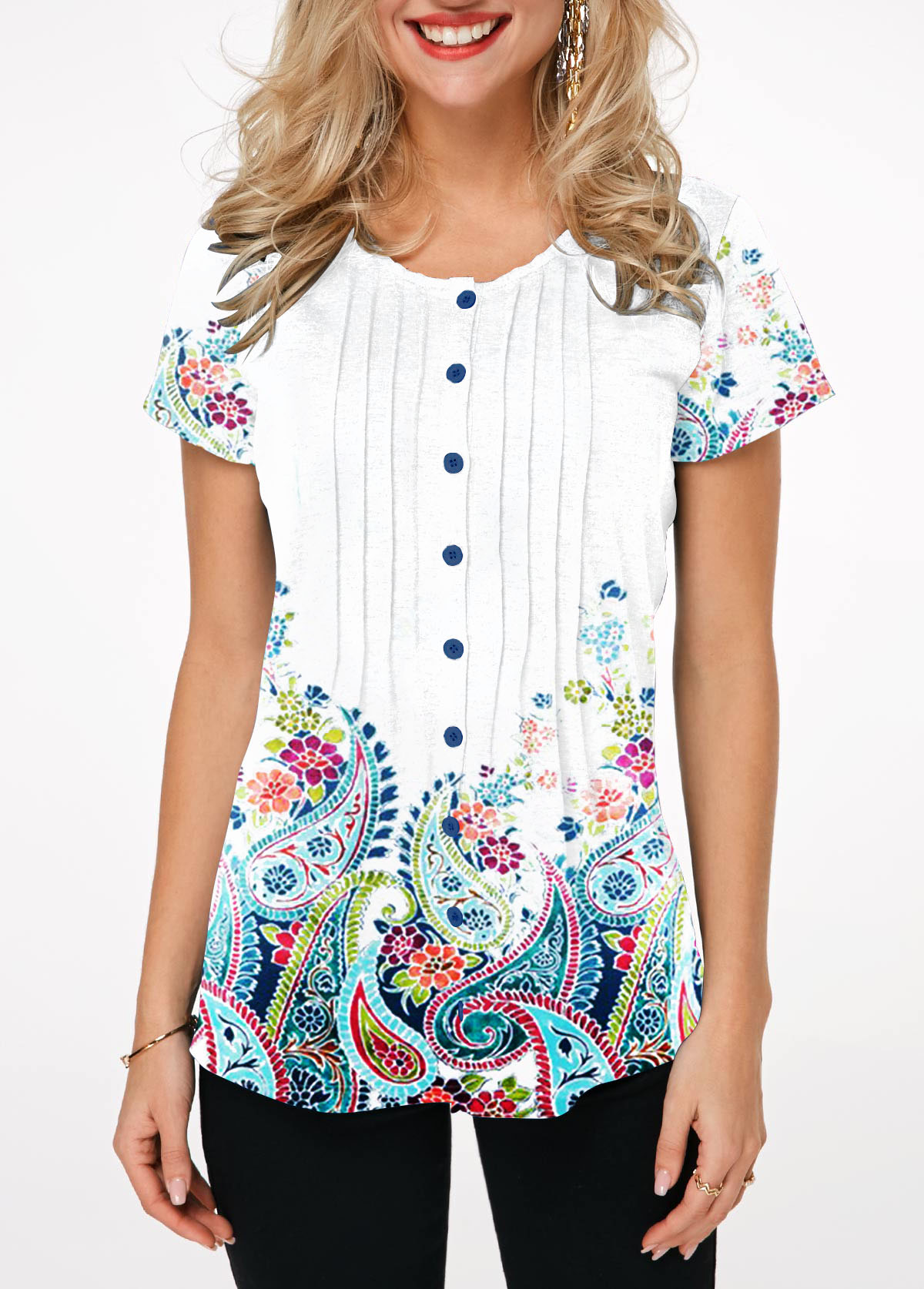 Paisley Print Button Up Crinkle Chest Blouse