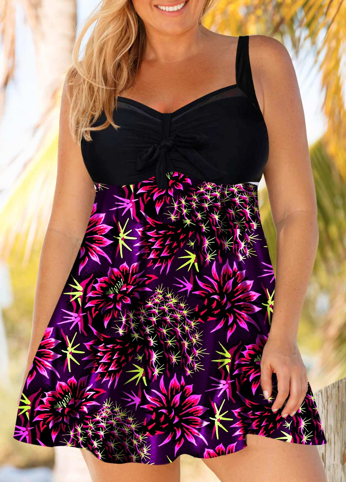 Plus Size Flower Print Bowknot Detail Swimdress and Shorts