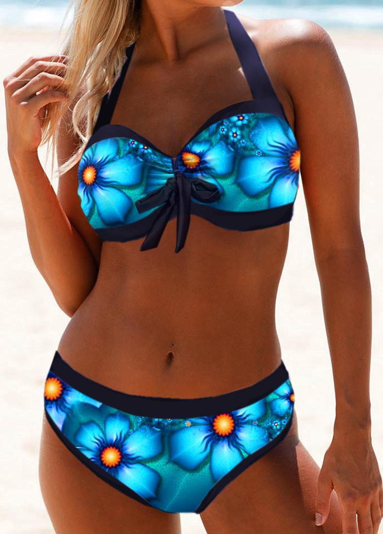 Tie Front Halter Neck Printed Bikini Swimwear