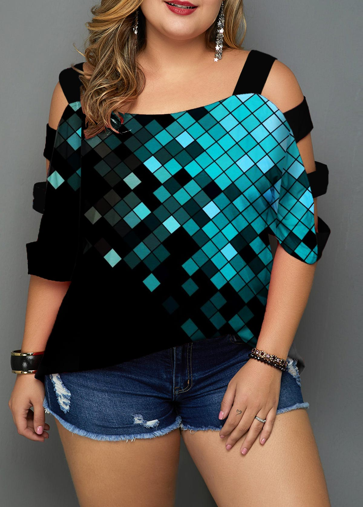 Plus Size Printed Ladder Sleeve Black Blouse