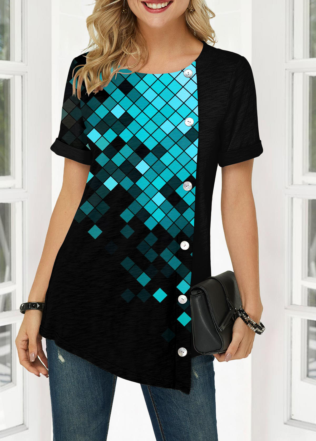 Geometric Print Button Front Short Sleeve Blouse