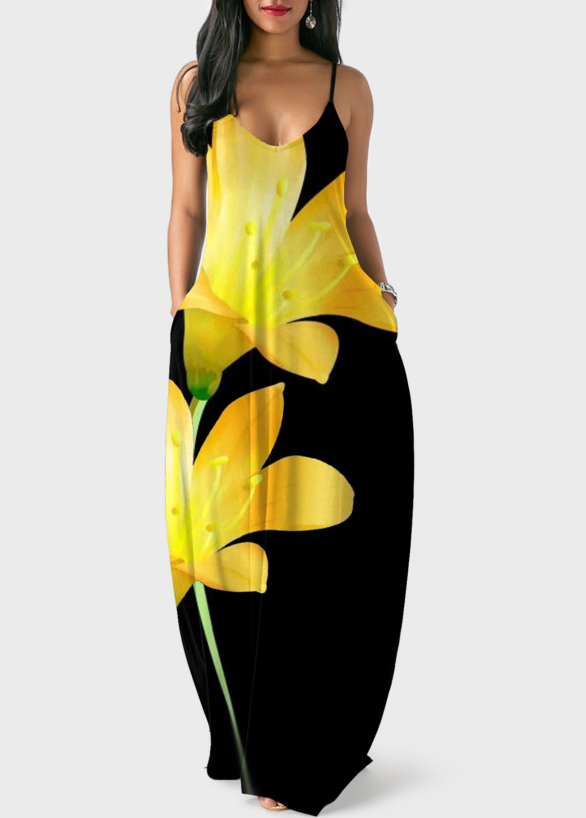 Plus Size V Back Large Floral Print Maxi Dress