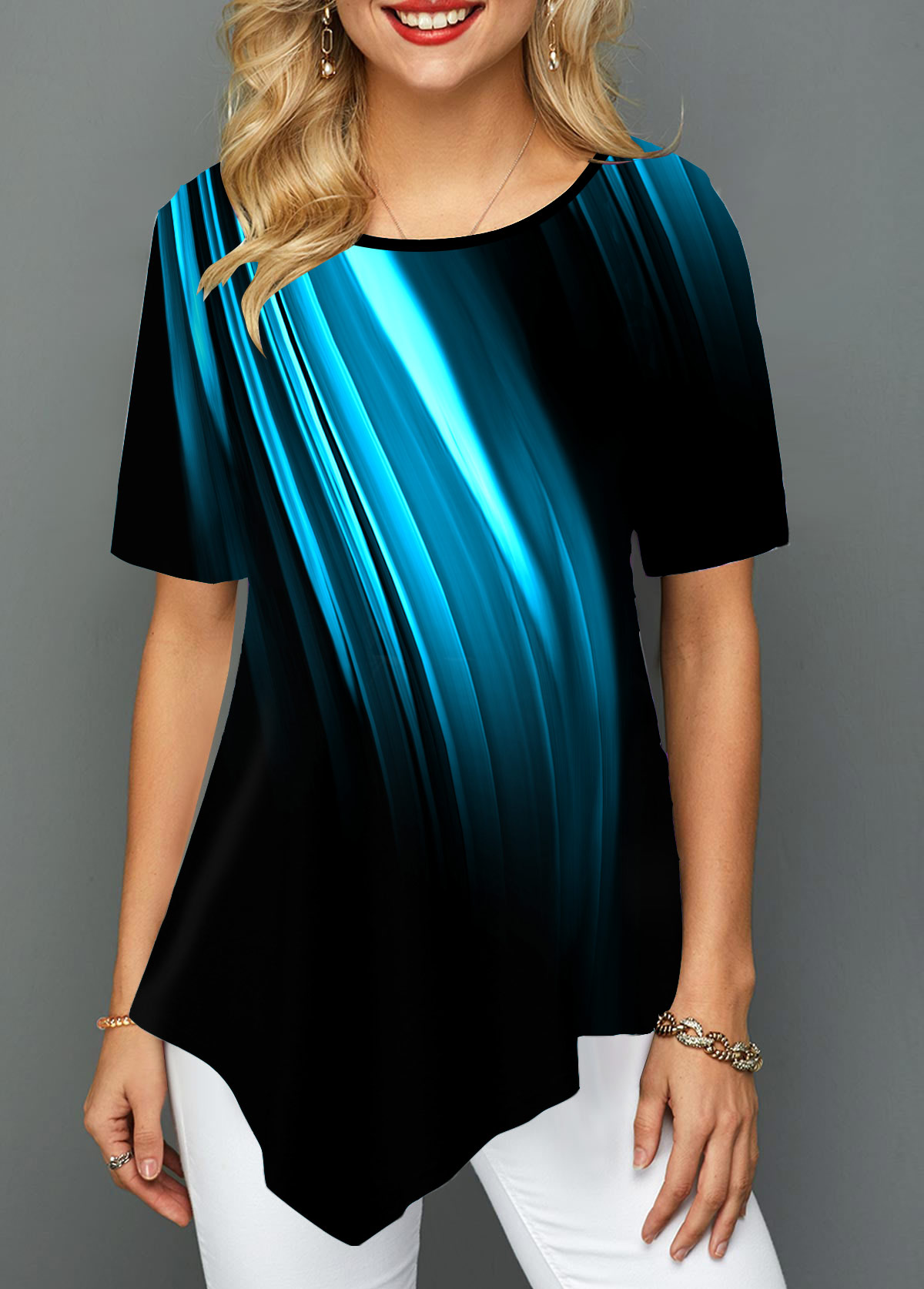 Round Neck Asymmetric Hem Printed T Shirt