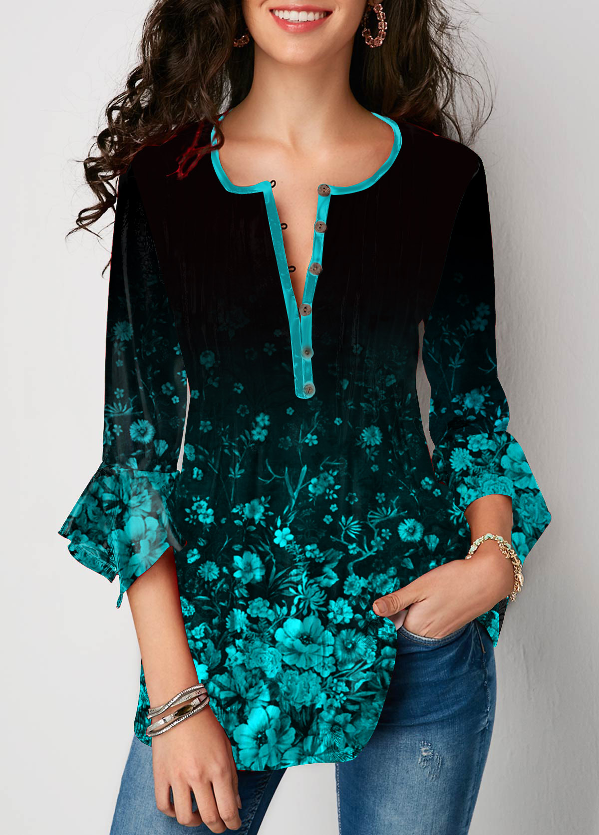 Flare Sleeve Button Front Printed Blouse