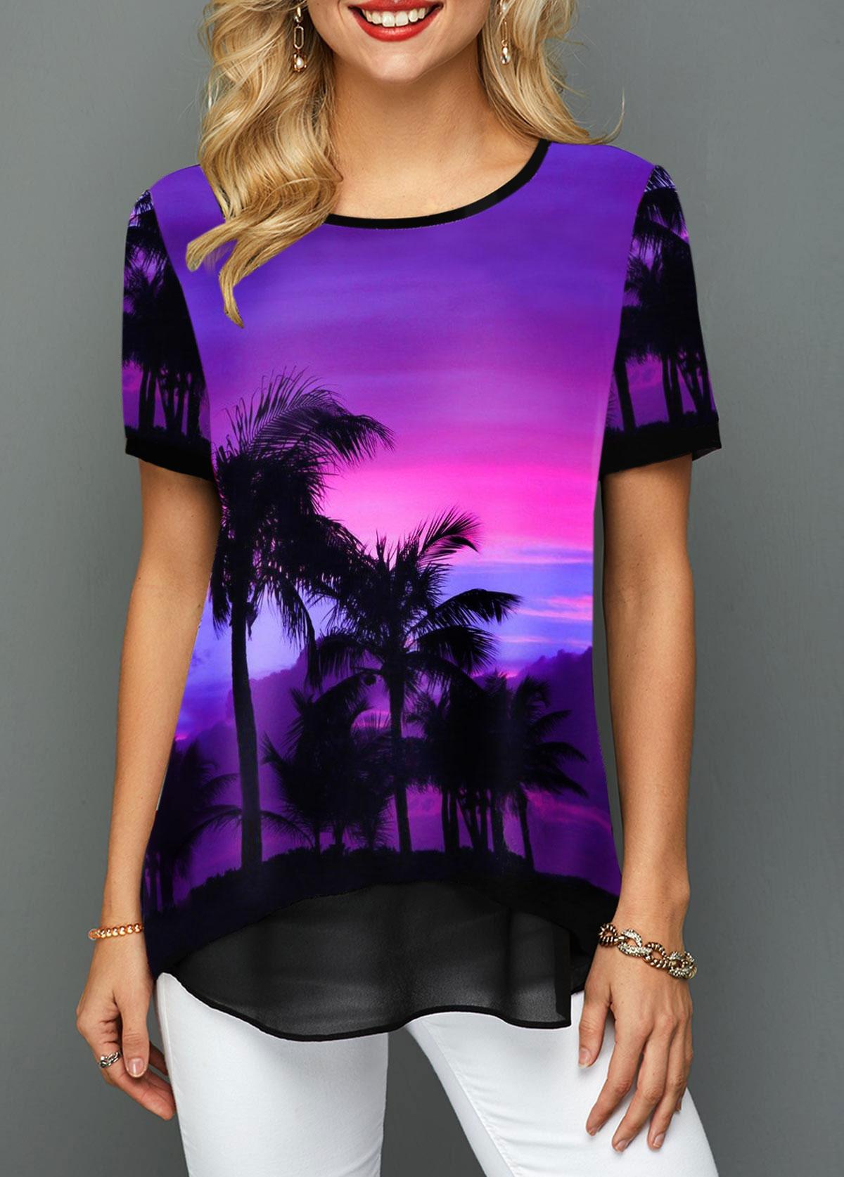 Short Sleeve Mesh Patchwork Printed T Shirt