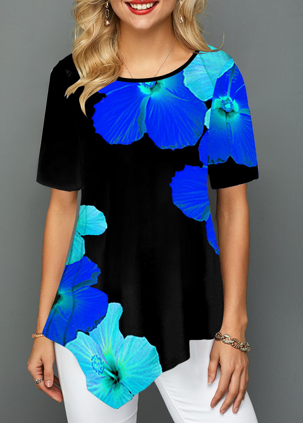 Round Neck Psychedelic Floral Print Asymmetric Hem T Shirt