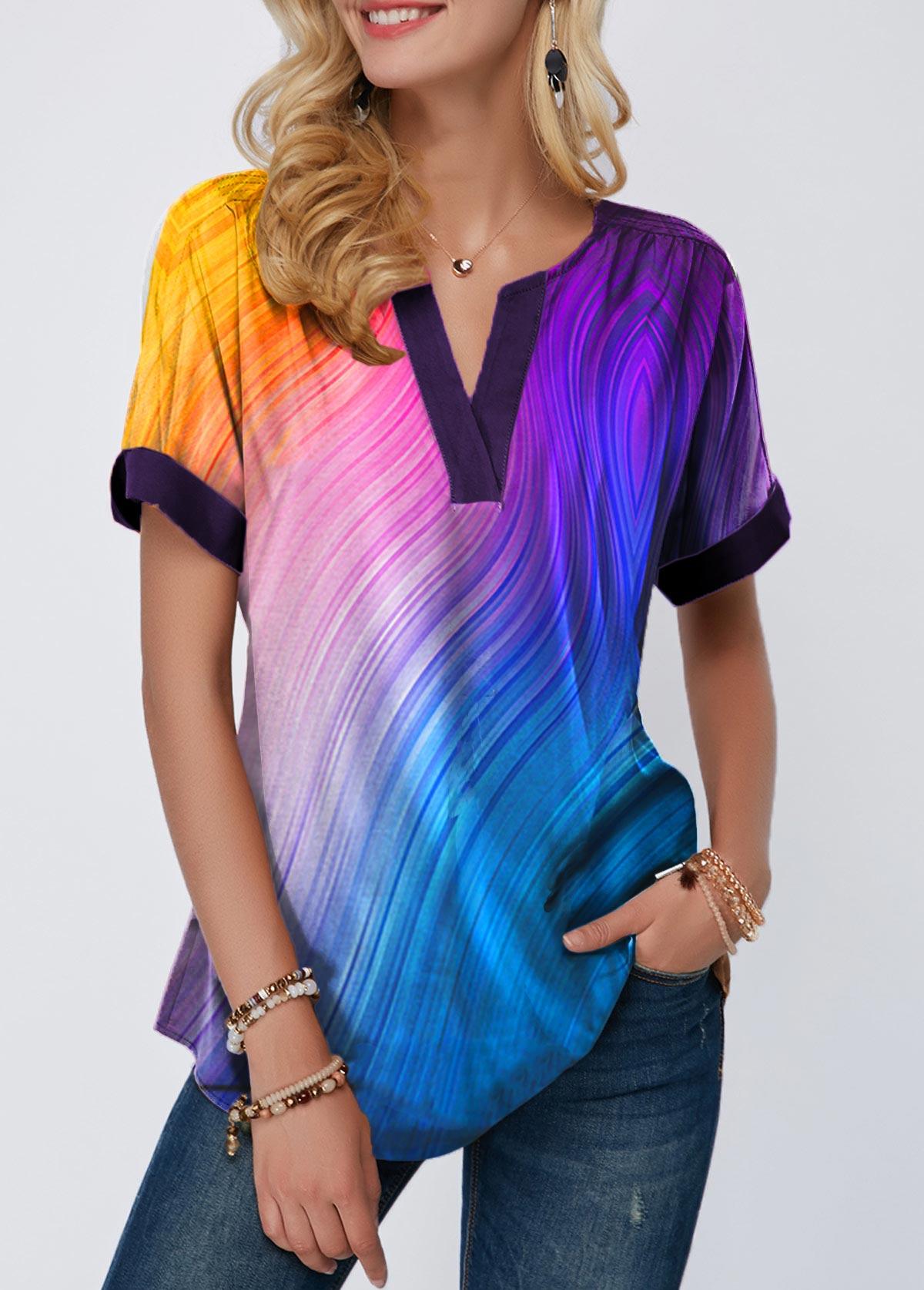 Short Sleeve Printed Notch Neck T Shirt