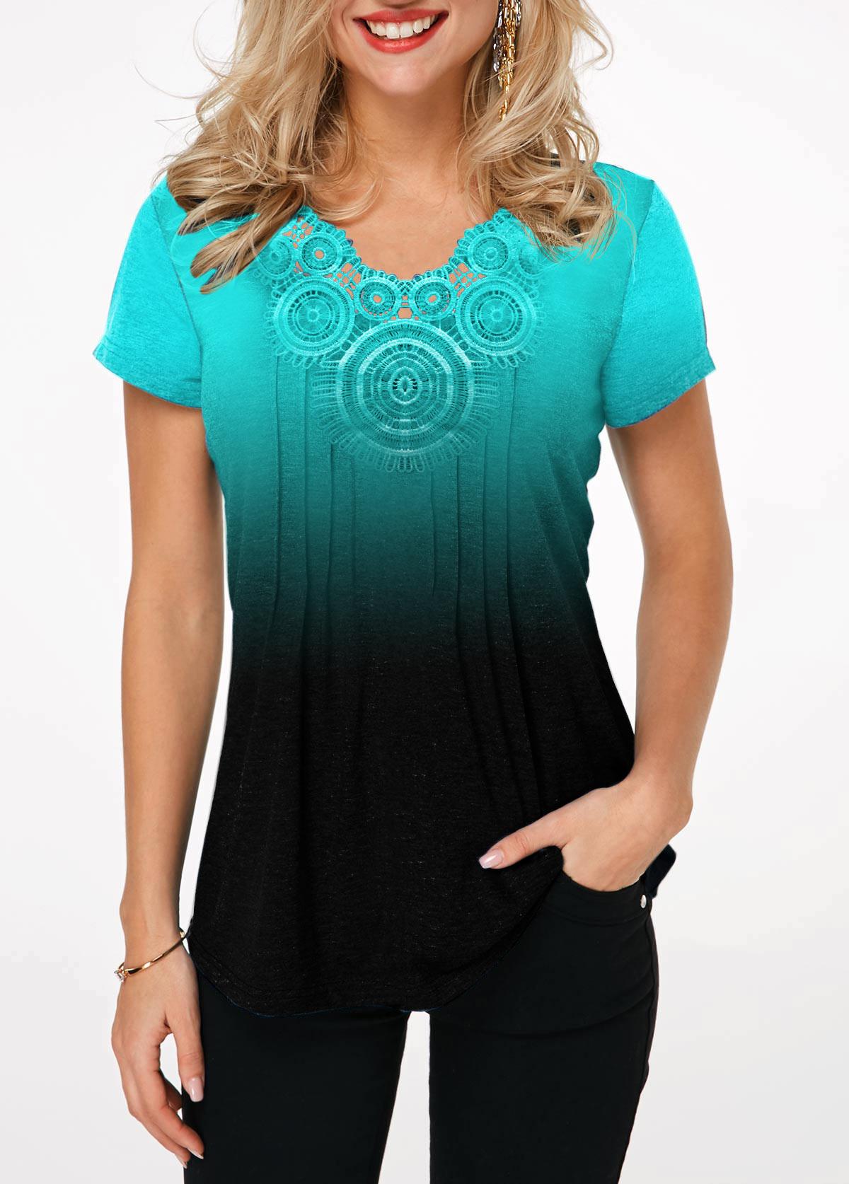 Short Sleeve Cyan Gradient Lace Panel T Shirt
