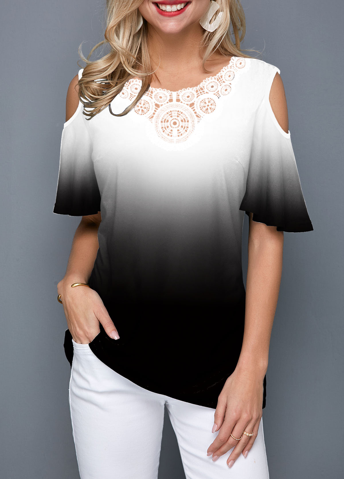 Half Sleeve Cold Shoulder Color Block T Shirt