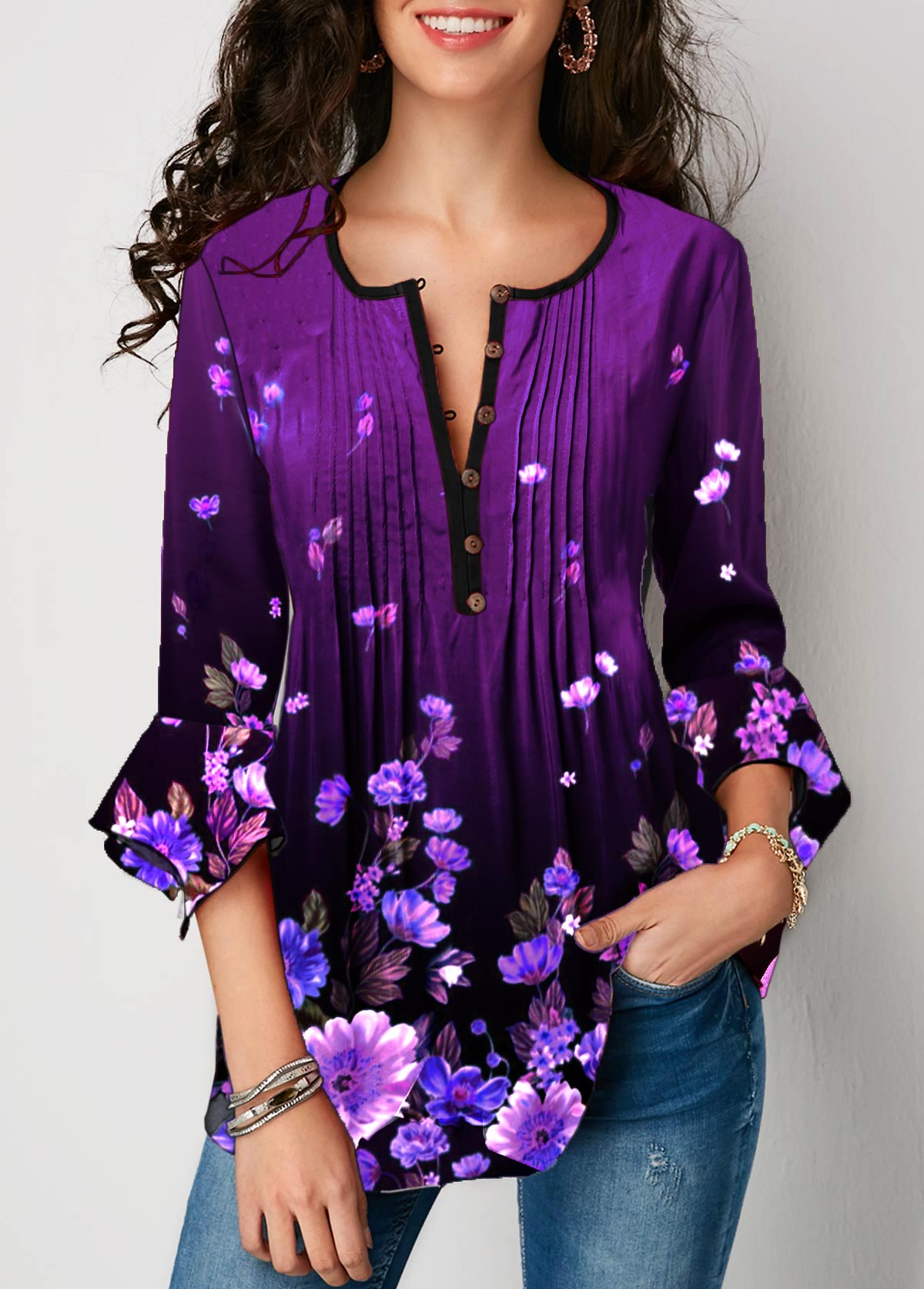 Floral Print Crinkle Chest Flare Sleeve Blouse
