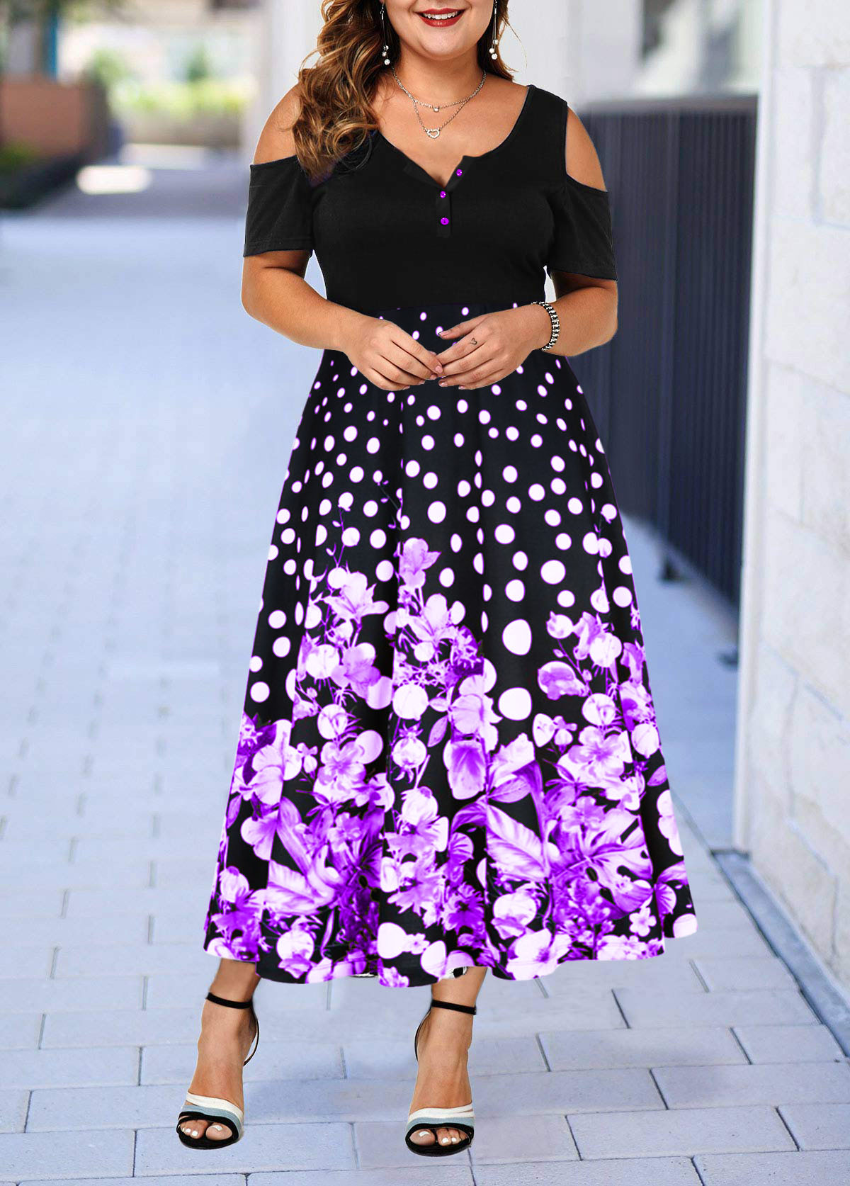 Plus Size Retro Flower Print Cold Shoulder Dress
