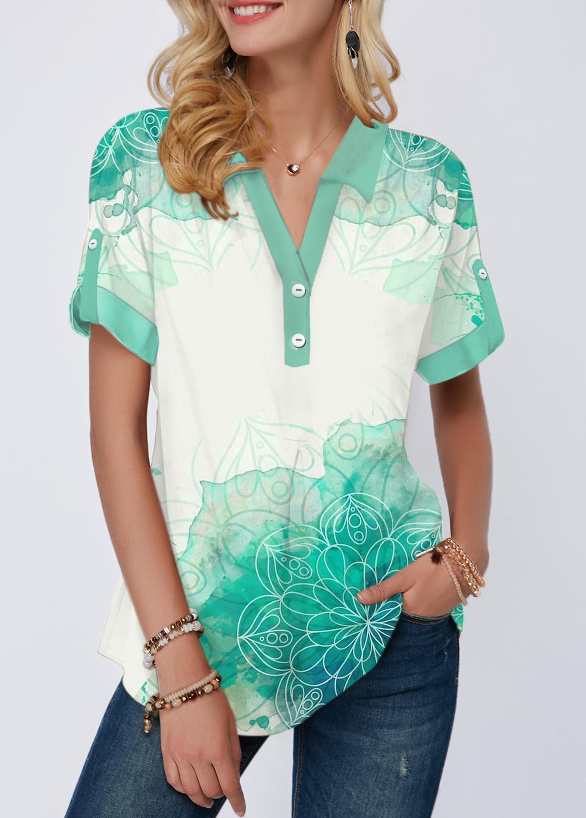 Printed Roll Tab Sleeve Turndown Collar Blouse