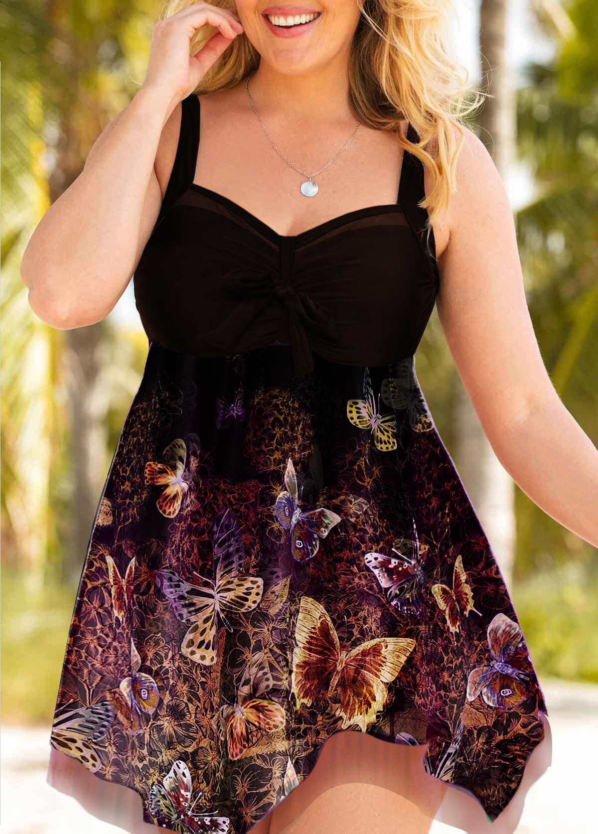 Plus Size Butterfly Print Bowknot Detail Swimdress and Shorts